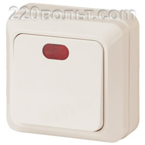 Intro Quadro Выключатель с подсветкой 10А-250В, IP20, ОУ, сл. кость 2-102-02 (открытая установка)