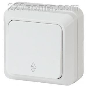 Intro Quadro Переключатель 10А-250В, IP20, ОУ, белый 2-103-01 (открытая установка)