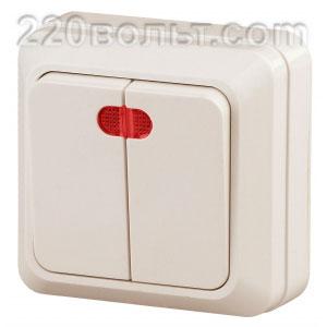 Intro Quadro Выключатель двойной с подсветкой 10А-250В, ОУ, сл. кость 2-105-02 (открытая установка)