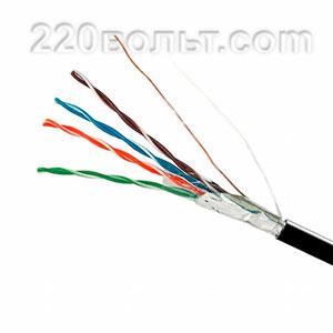 Кабель EH.LAN-26 FTP CAT 5E CCA 4x2x0,51 (наружный монтаж, со стальной проволокой) ПЭ черный