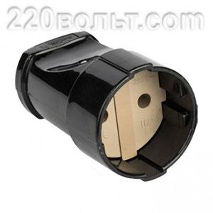 Штепсельное гнездо без заземления черное 10А 250В Simple