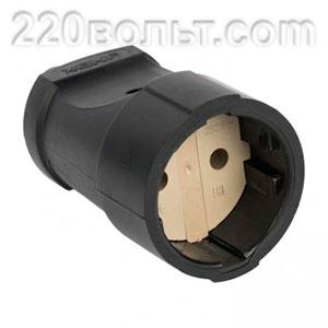 Штепсельное гнездо без заземления черное ПВХ 10A 250B Simple