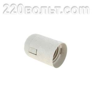 Патрон Е27 пластиковый подвесной термостойкий пластик белый EKF