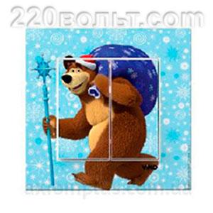 """Выключатель 2-ой """"Медведь с подарками"""" Karre Viko"""