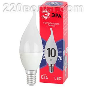 Лампа светодиодная ЭРА ECO LED BXS-10W-865-E14 R (диод, свеча на ветру,10Вт, хол, E14)