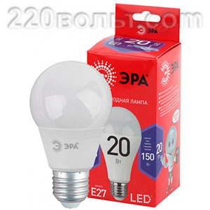 Лампа светодиодная ЭРА ECO LED A65-20W-865-E27 R (диод, груша,20Вт, хол, E27)