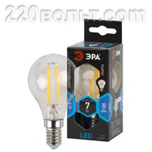 Лампа светодиодная ЭРА F-LED P45-7W-840-E14 (филамент, шар, 7Вт, нейтр, E14)