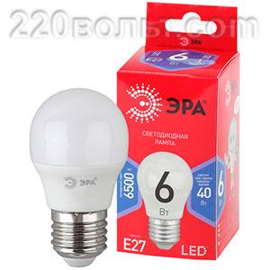Лампа светодиодная ЭРА ECO LED P45- 6W-865-E27 R (диод, шар, 6Вт, хол, E27)
