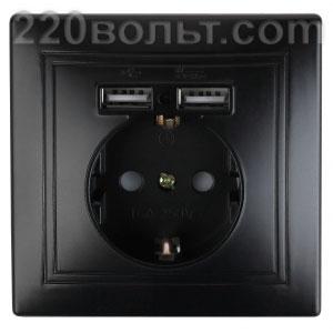 Intro Plano Розетка+USB, IP20, СУ, антрацит 1-410-05