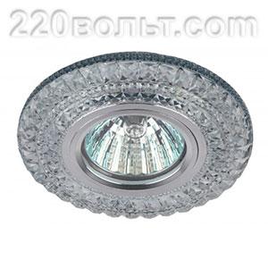 Светильник точечный декор c подсветкой бел+голуб прозрачный ЭРА