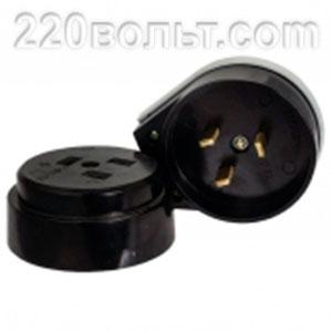 Разъем РШ-ВШ 32А 250В 2P+PE карболитовый черный EKF Simple