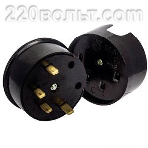 Разъем РШ-ВШ 32А 380В 3P+PE карболитовый черный EKF Simple