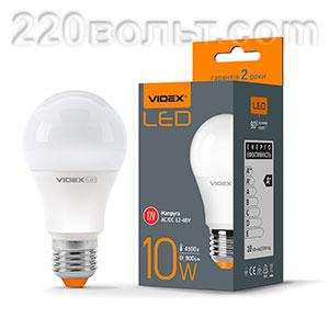 Лампа светодиодная LED А60 10W E27 4100K 12-48V Videx