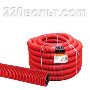 Труба гофр.двухстенная ПНД d 125 с зондом (50 м) красная, ЭРА