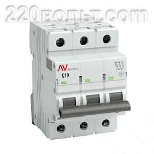 Выключатель автоматический AV-6 3P 10A (C) 6kA EKF AVERES