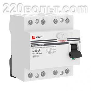 УЗО ВД-100 4P 80А (электромеханическое) EKF PROxima