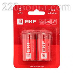 Батарейка алкалиновая типа C(LR14) уп/2шт EKF