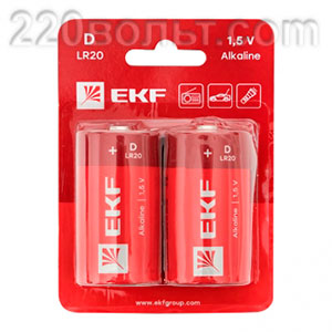 Батарейка алкалиновая типа D(LR20) уп/2шт EKF
