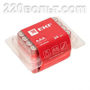 Батарейка алкалиновая типа ААА(LR03) уп/24шт EKF