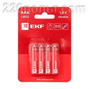 Батарейка алкалиновая типа ААА(LR03) уп/ 4шт EKF